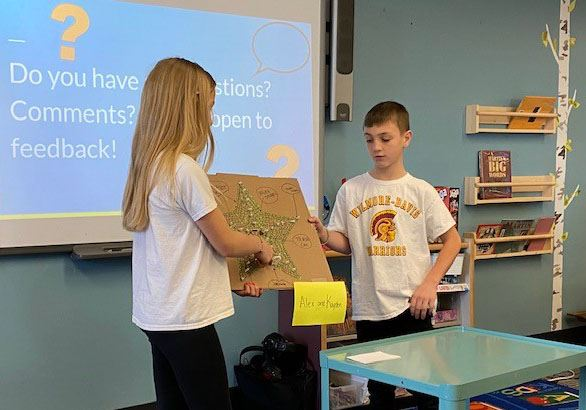 4th and 5th grade students present labryinth design for nature play area