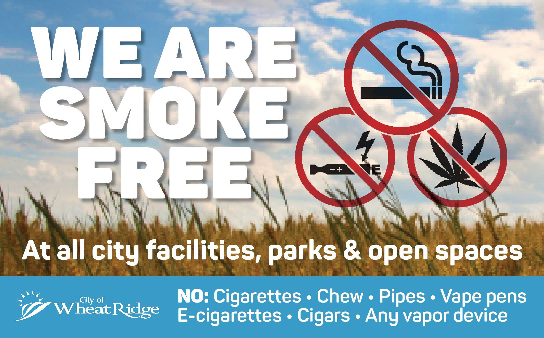 Smoke free sign for the City of Wheat Ridge
