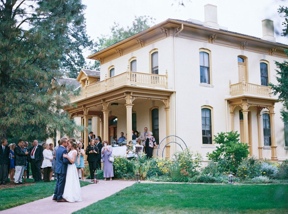 Couple and guests at the estate