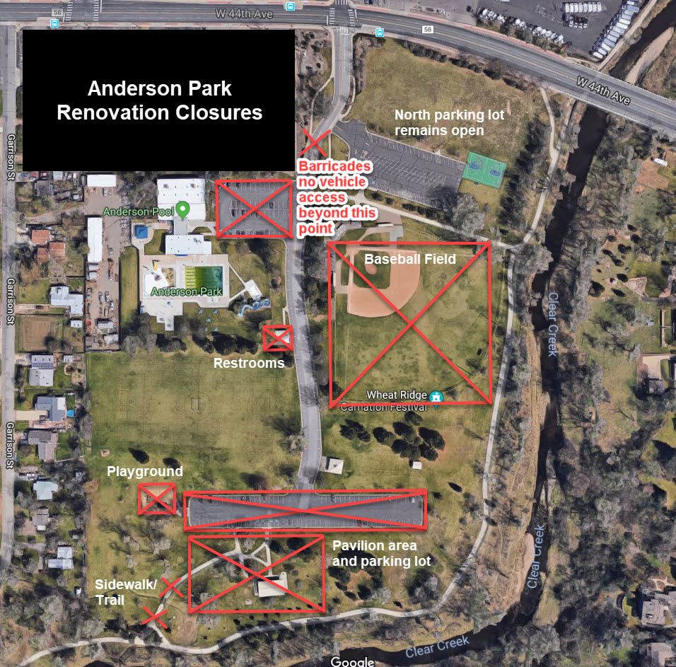 Map of Anderson Park Renovation Closures