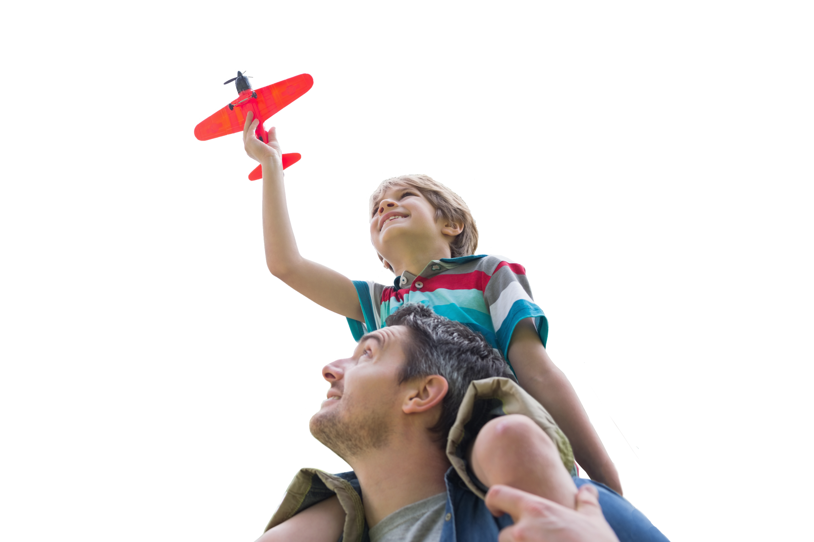 Boy sitting on dad's shoulders with airplane in hand